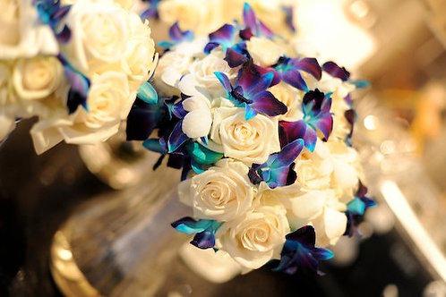 White Rose - Turquoise Dendrobium Orchid Bouquet
