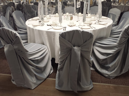 Grey Sateen - Tie Attached Chair Cover