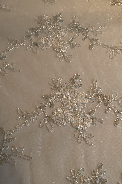 White / Silver Sequin Lace Overlays
