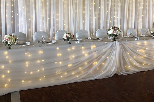Head Table / Cake Table Draping - Icicle Lights