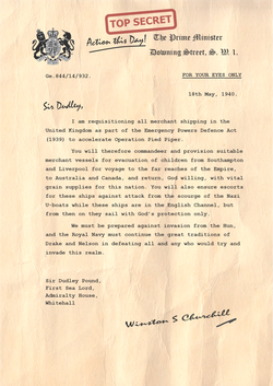 Churchill Letter to Sir Dudley Pound First Sea Lord PNG