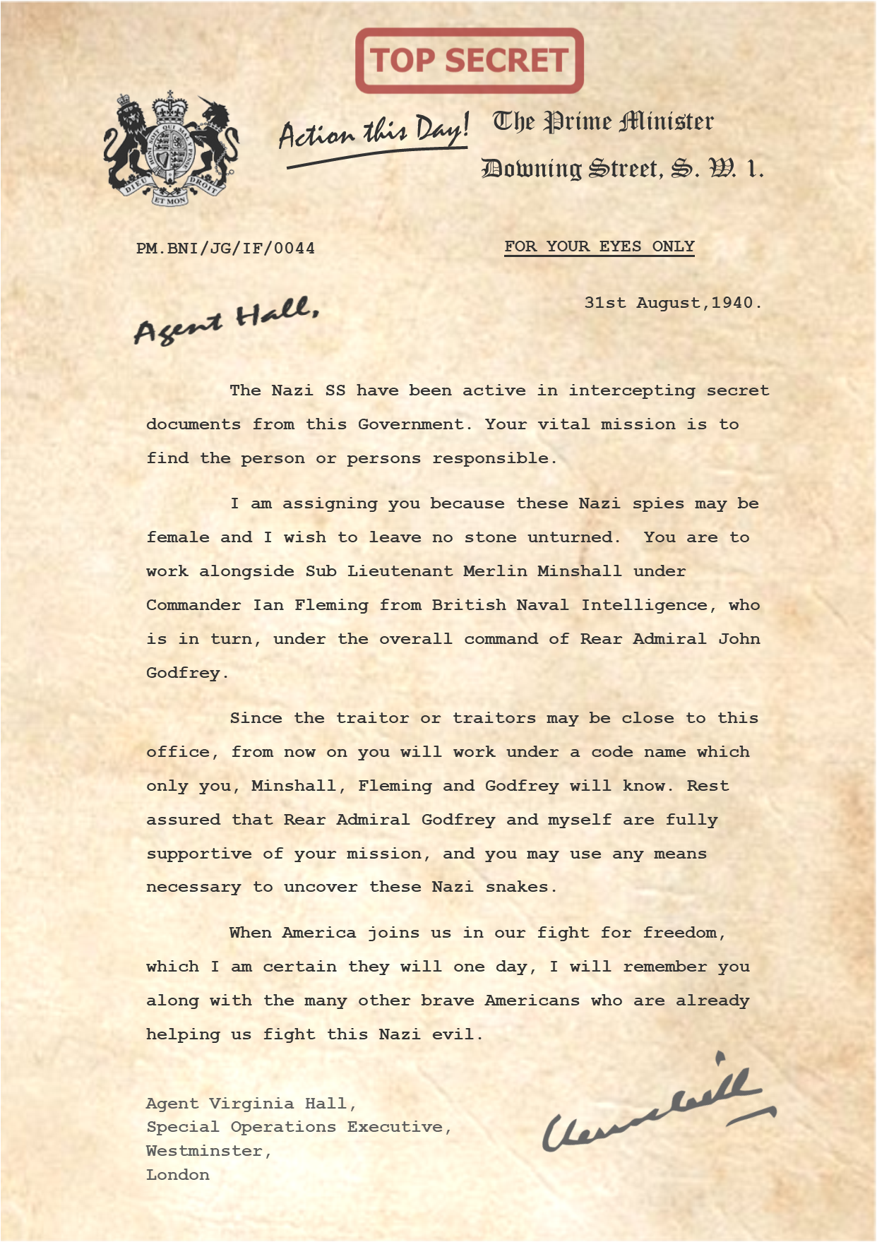 Churchill Letter to Agent Virginia Hall PNG