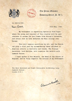 Letter from Churchill to the Archbishop of Canterbury