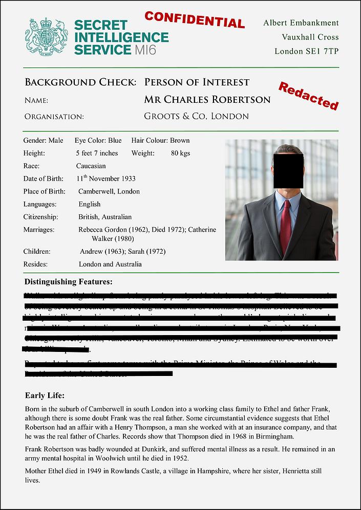 MI6 Background Check on Charlie Robertso
