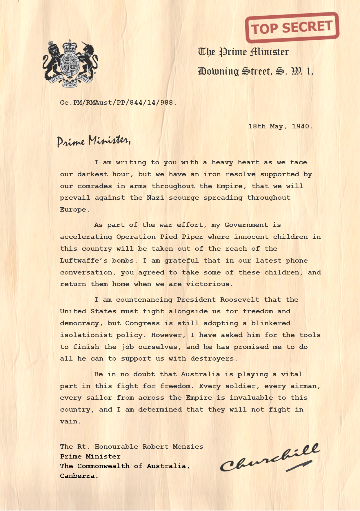 Churchill Letter to Robert Menzies Australia PNG