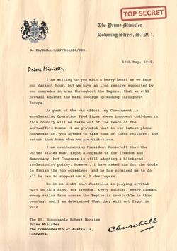 Churchill Letter to Robert Menzies Australia PNG