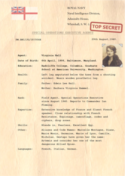 Virginia Hall British Naval Intelligence Agent PNG
