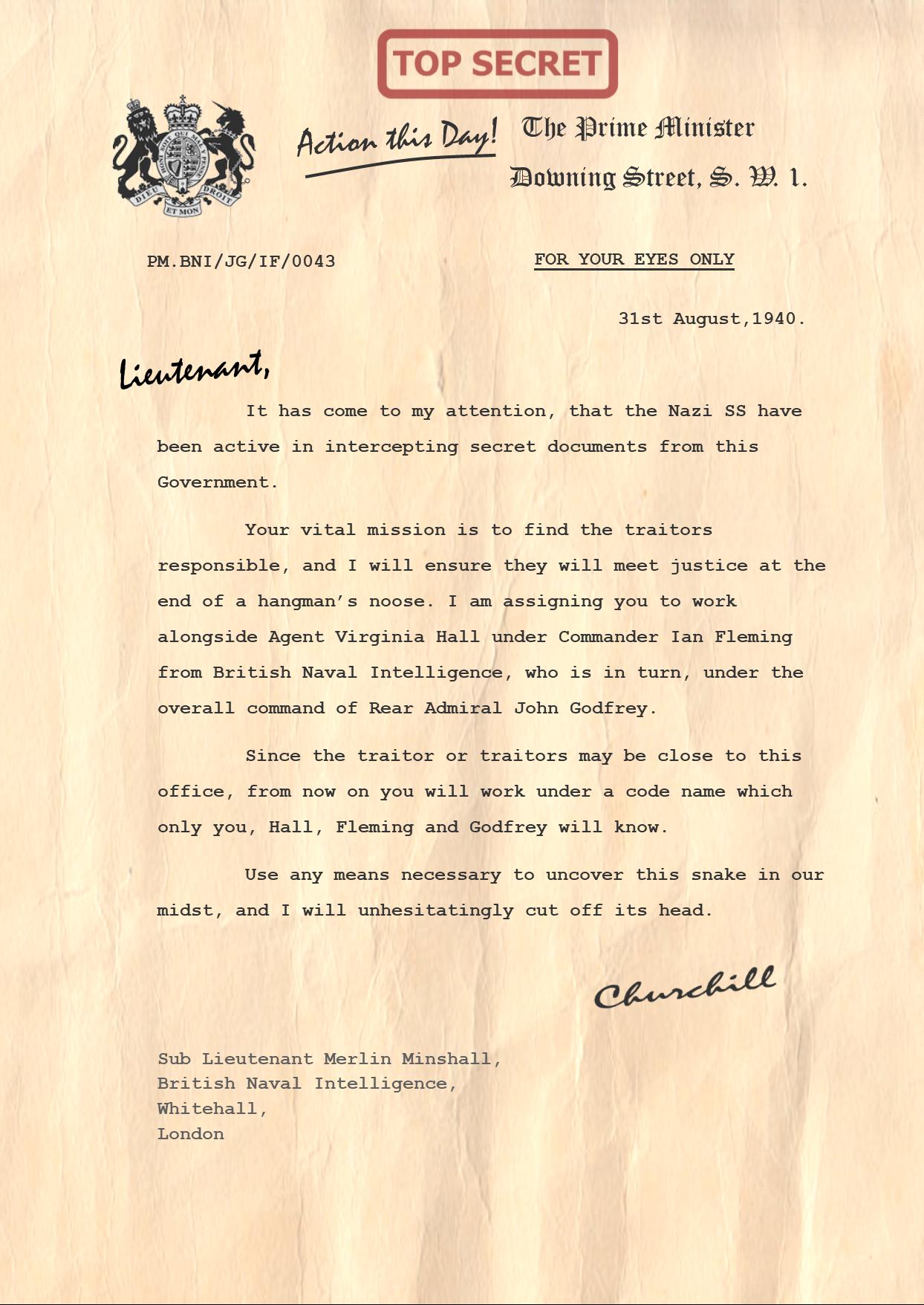 Churchill Letter to Sub Lieutenant Merlin Minshall PNG