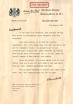 Churchill Letter to Sub Lieutenant Merlin Minshall PNG