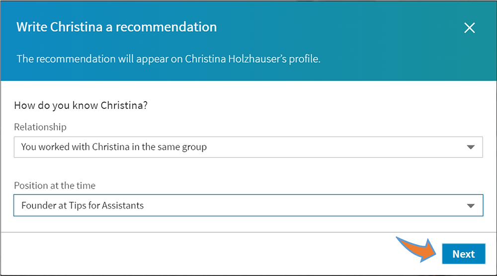 LinkedIn Recommendation How-To Step #3