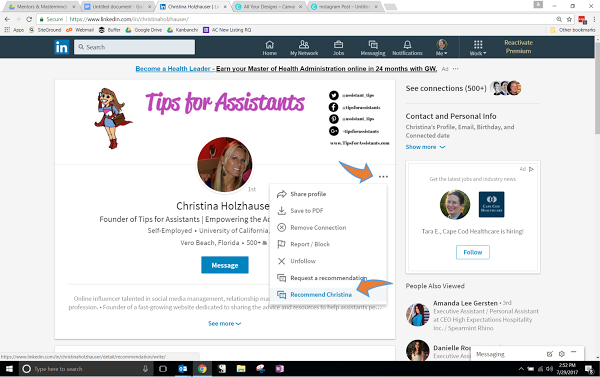 LinkedIn Recommendation How-To Step #2