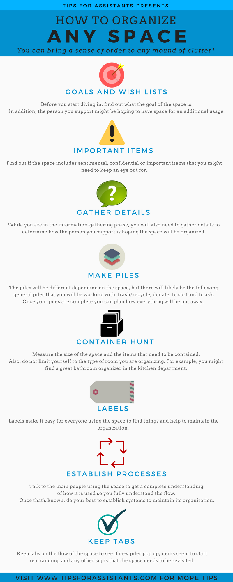 Infographic about How to Organize Any Space