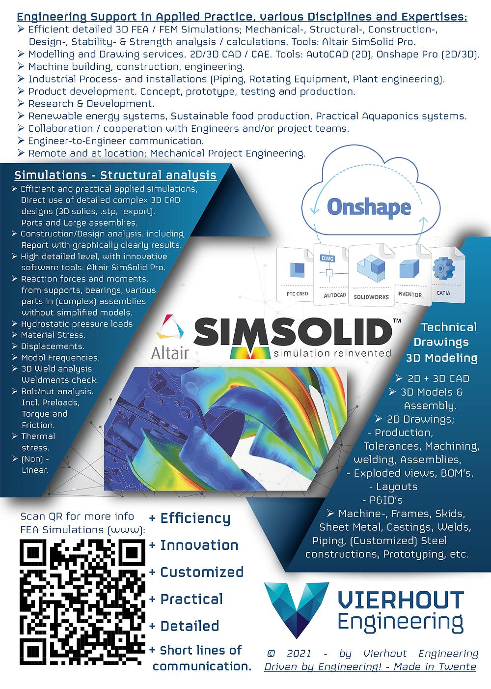 Werktuigbouw, Sterkteberekening, FEA, FEM Simulatie, 3D CAD, Structural, Mechanical engineering
