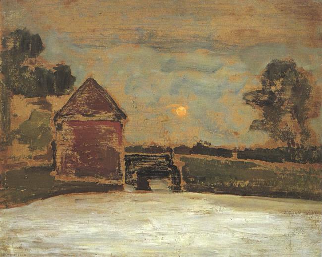 Piet Mondriaan - De Oldemeule met maan -