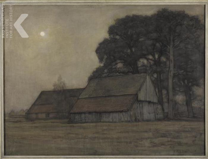 Piet Mondriaan - Evening sheepfold and f