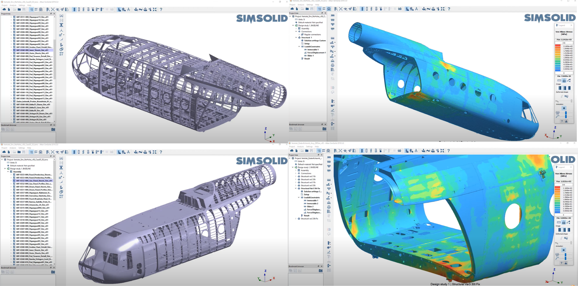 Simsolid collage-heli-detailed FEA