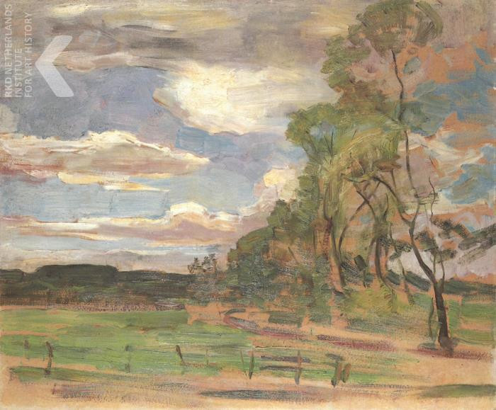 Piet Mondriaan - Field with gate and trees
