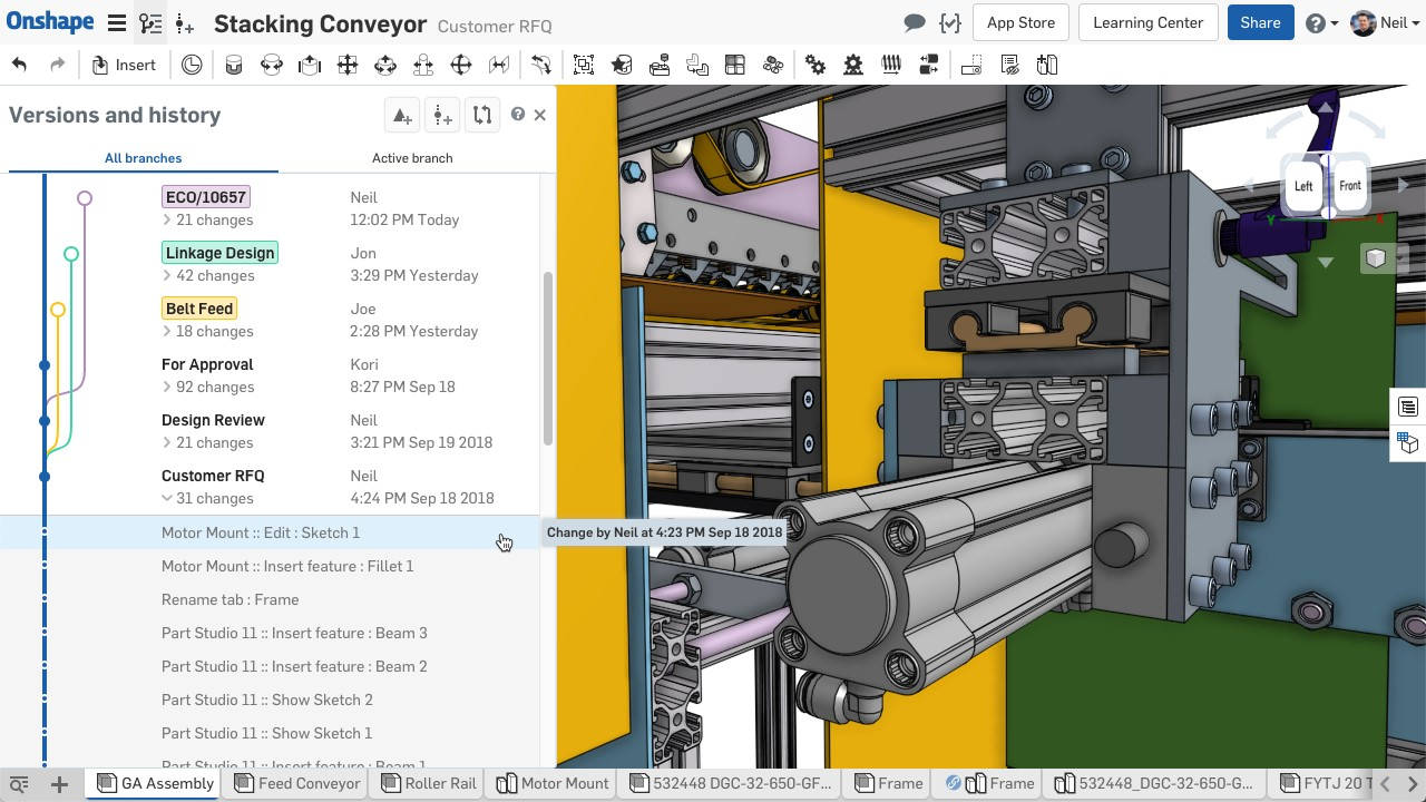 Onshape machine design 3D CAD cloud onli