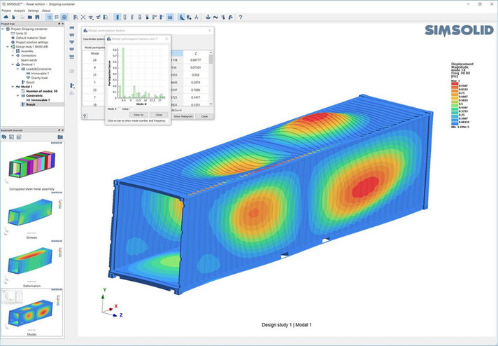 Simsolid container example modal frequency
