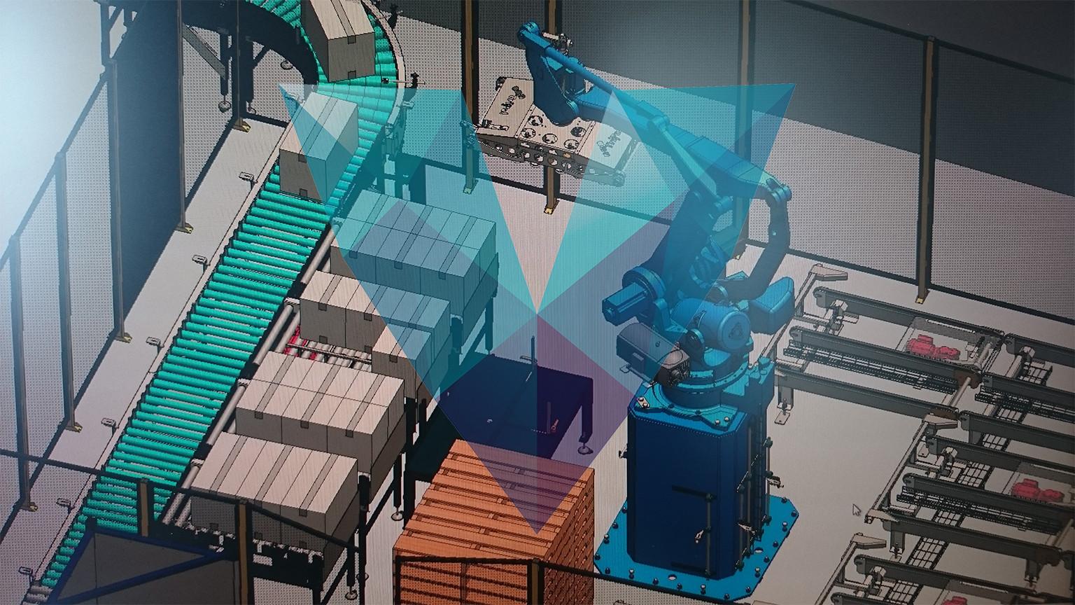 Tripal packaging robot conveyors