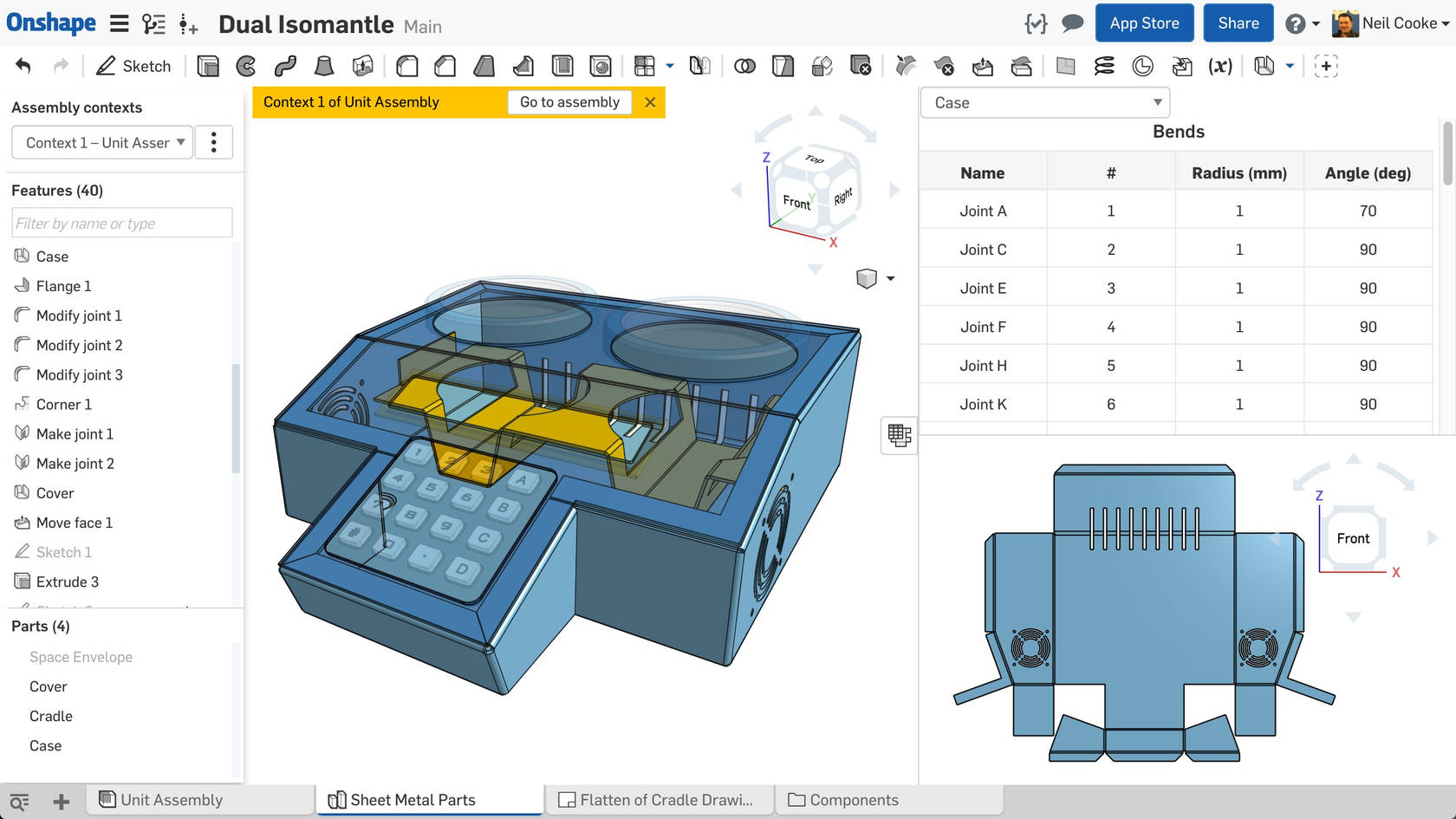 Onshape sheet metal