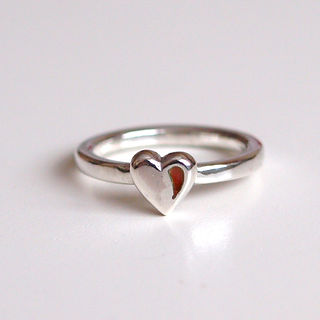 Red Enamel Love Heart Ring