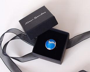 Sterling Silver Ocean Blue Enamelled Ring