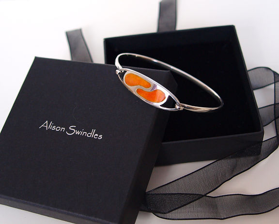 Enamelled Orange Silver Bangle