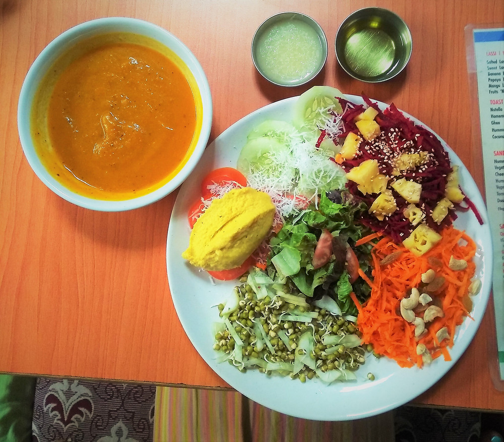 Pumpkin Soup Salad Hummus Vegan Yoga Lunch