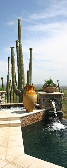 pool and spa with pots and saguaros