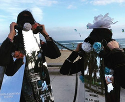 Street performance costumes from _Calling In,_ on the phone with ourselves and each other at once, e