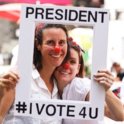 Dorothy (Barbara Ann Michaels) and Frances (Brooke Turner) are Co-Presidents of Voting For Us All