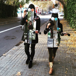 Street performance of _Calling In_ in PobleNou, Barcelona. See and call yourself in the mirror; say
