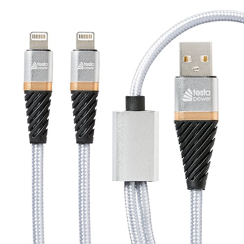 Dual Lightning to USB Cable Fast Charge 1m