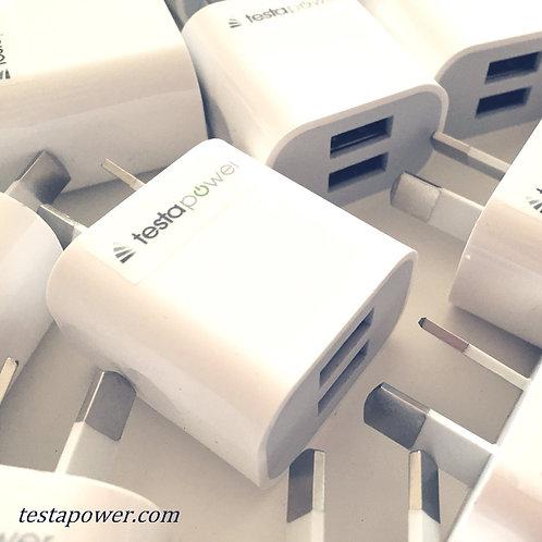 Dual USB wall plug 2.1 amps..