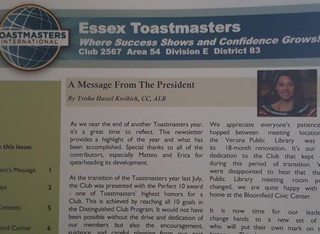 Essex Toastmasters Newsletter Spring 2019