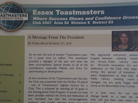 Essex Toastmasters Newsletter Spring 2019