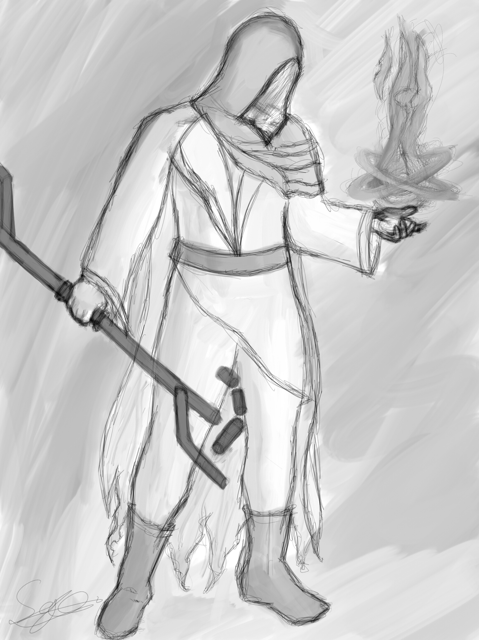 Futuristic Mage Sketch 3