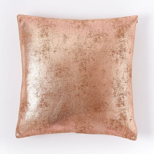Rose Gold Metallic Foil Pillow Cover - West Elm
