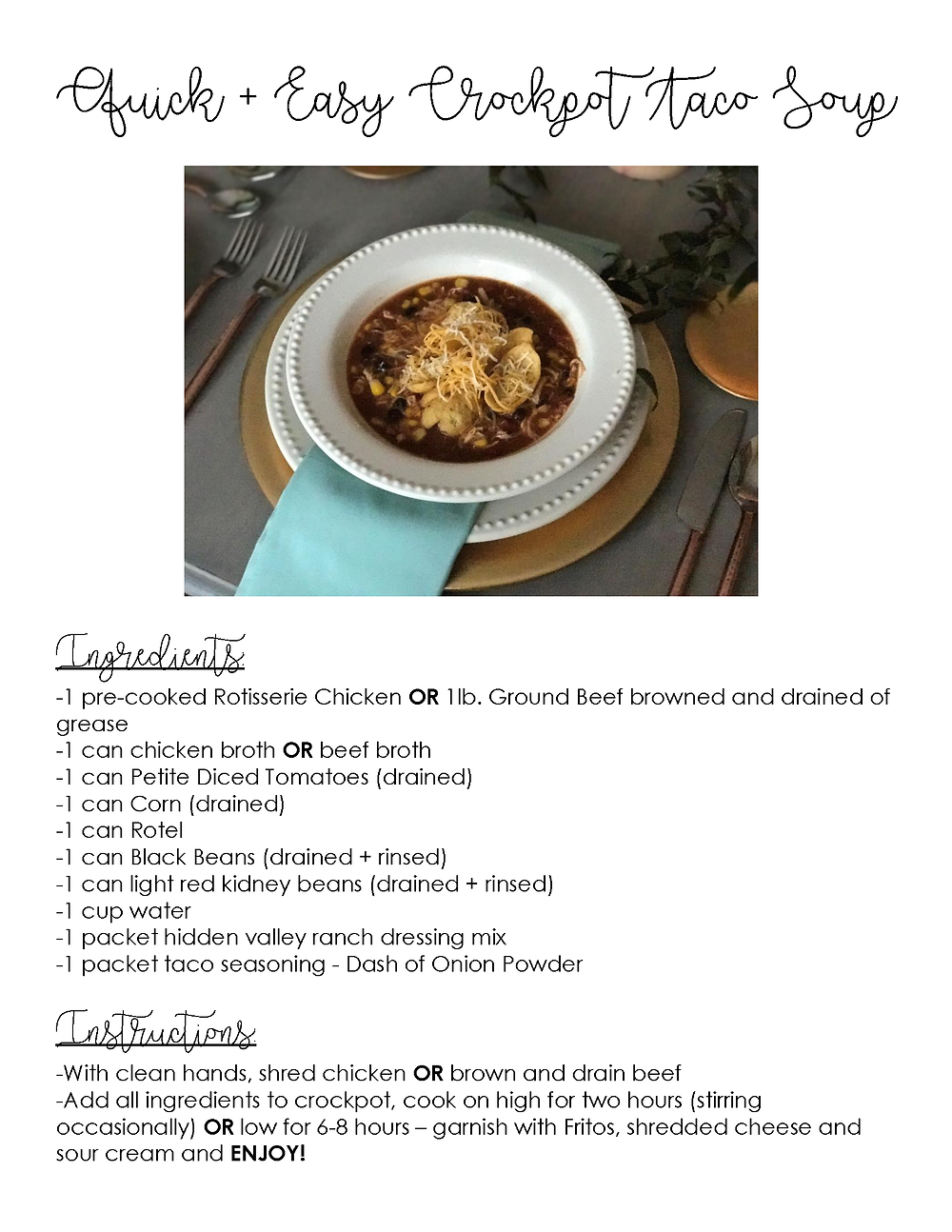 Quick and Easy Crockpot Taco Soup Recipe - Grace and Merriment