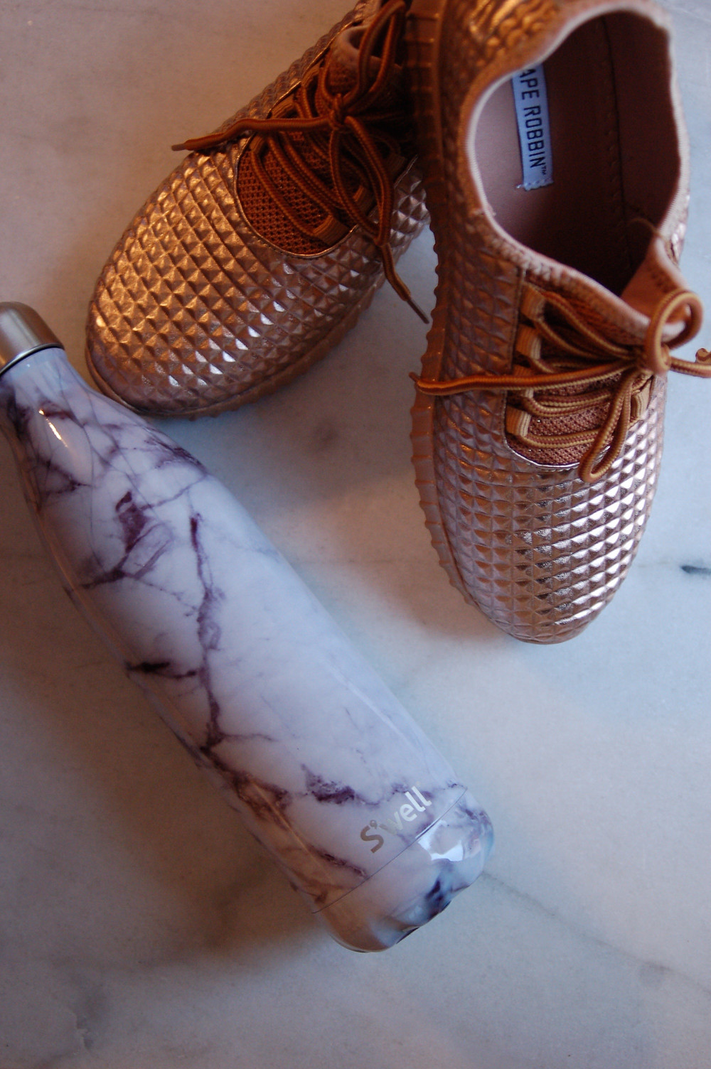 Grace and Merriment - Git Fit Get Healthy - Rose Gold Shoes - Marble Swell Bottle