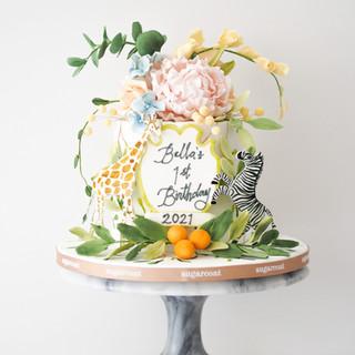 Watercolor Safari Birthday Cake
