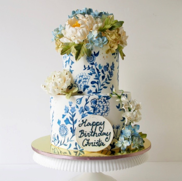 Hand Painted Blue and White Floral Cake