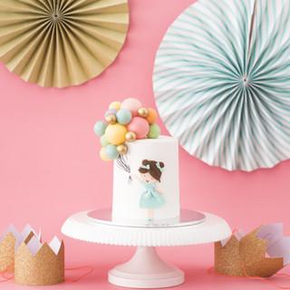 Girl Holding Balloon Birthday Cake