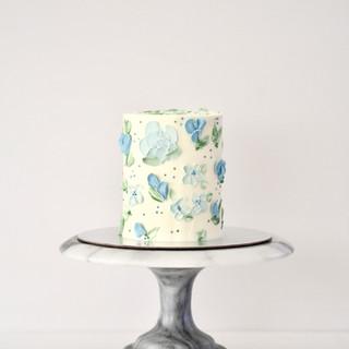 Blue Floral Buttercream Birthday Cake