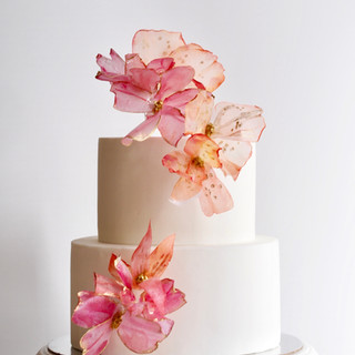 Coral Pink Floral Birthday Cake
