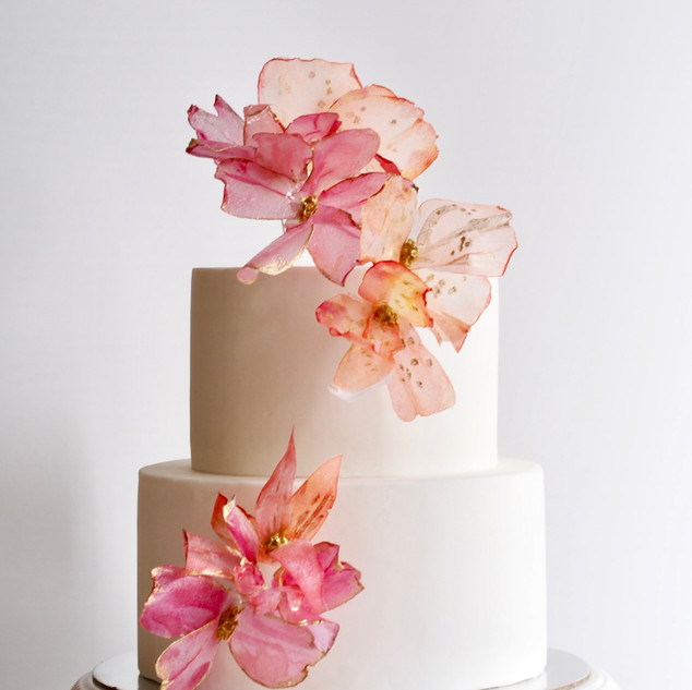 Coral Pink Floral Cake