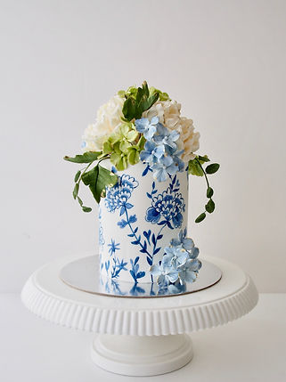 Blue and White Handpainted Cake