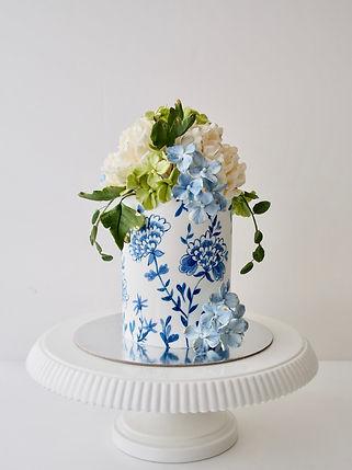 Blue and White Handpainted Cake