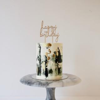 Black, Gold, White Marbled Buttercream Birthday Cake